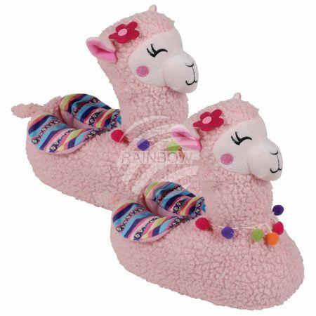 SHO-053a Hausschuhe Pantoffeln Lama Alpaka 40 - 42 rosa