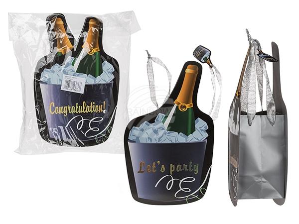 180731 Papier-Geschenktüte, Congratulations & Let's Party sortiert, mit Dekostein, ca. 35 x 20 cm, 12 Stück im Polybeutel, 2016/PAL