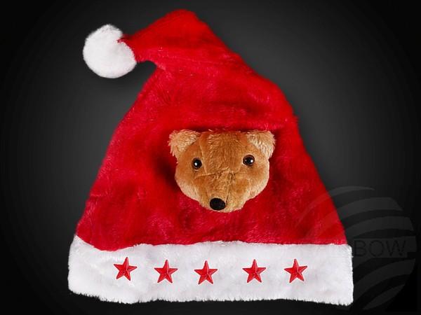 Rote Weihnachtsmütze mit Plüsch Teddy und 5 LED Sternen