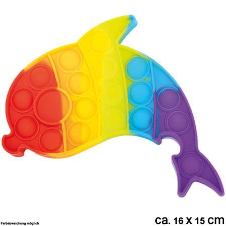 BUT-023 Bubble Toy Rainbow Delphin ca. 16 cm x 15 cm