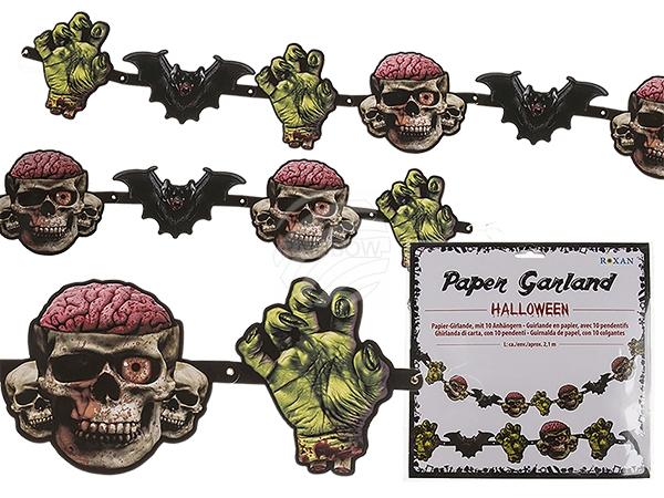 190127 Papier-Girlande, Halloween mit 10 Papieranhängern, ca. 20 x 19 cm, L: ca. 2,1 m, im Polybeutel mit Headercard, 2880/PAL