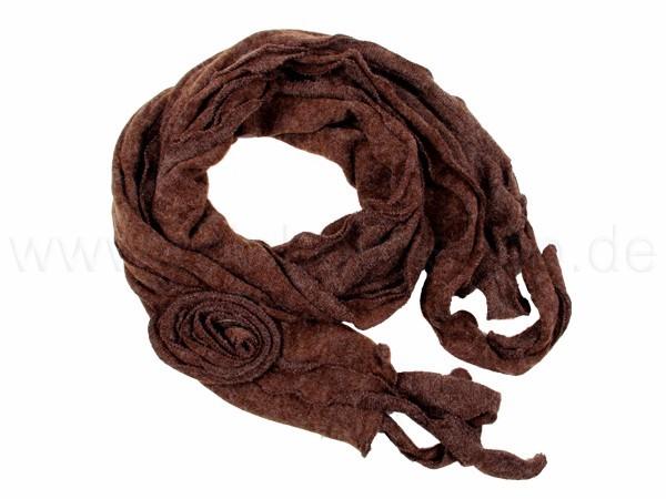 SCH-07braun Damen Schal unifarben mit Fransen braun