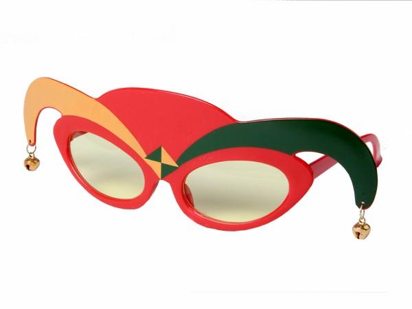 F-027 Fun Party Brille Form: Harlekin, Joker Farbe: schwarz, orange, rot