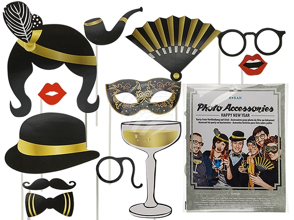 181068 Party-Foto-Verkleidung auf Stick, New Year (Hut, Brille, Schnurrbart, Sektglas etc.) 12er Set im Polybeutel mit Headercard, 1152/PAL