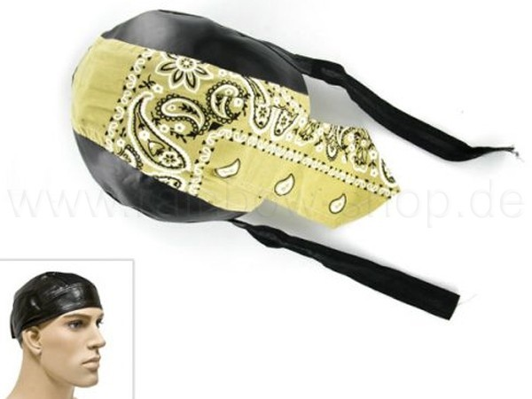 ZAL-086 Zandana, Leder Optik Biker Kopftuch Design: Paisley Muster Farbe: schwarz, gelb, weiss