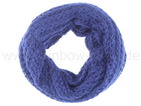 SCH-385b Damen Loop Schal Strickmuster blau