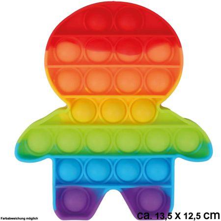 BUT-015 Bubble Toy Rainbow Männchen ca. 13,5 cm x 12,5 cm