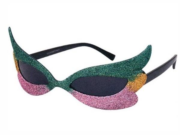 F-018 Fun Party Brille Form: Venezianisch Farbe: grün, gelb, rosa