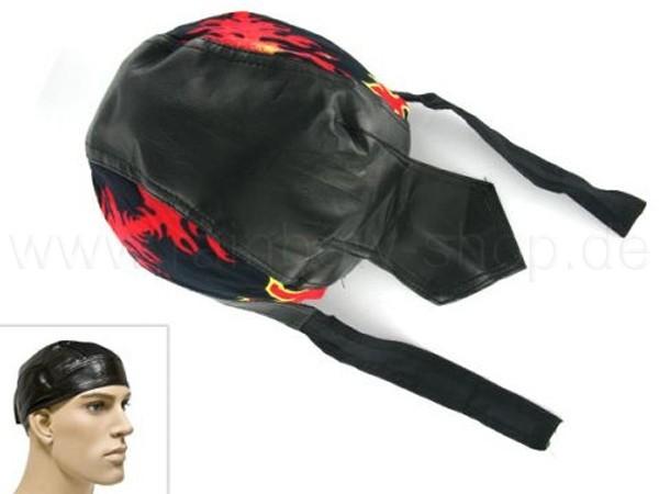 ZAL-063 Zandana, Leder Optik Biker Kopftuch Design: Flammen Farbe: schwarz, rot, gelb