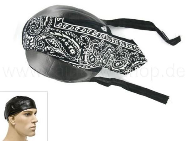 ZAL-087 Zandana, Leder Optik Biker Kopftuch Design: Paisley Muster Farbe: schwarz, weiss