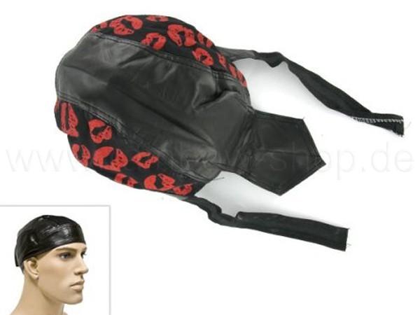 ZAL-071 Zandana, Leder Optik Biker Kopftuch Design: Küsse Farbe: schwarz, rot