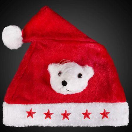 WM-44a Weihnachtsmütze rot Motiv:  Eisbär 5 rote Sterne