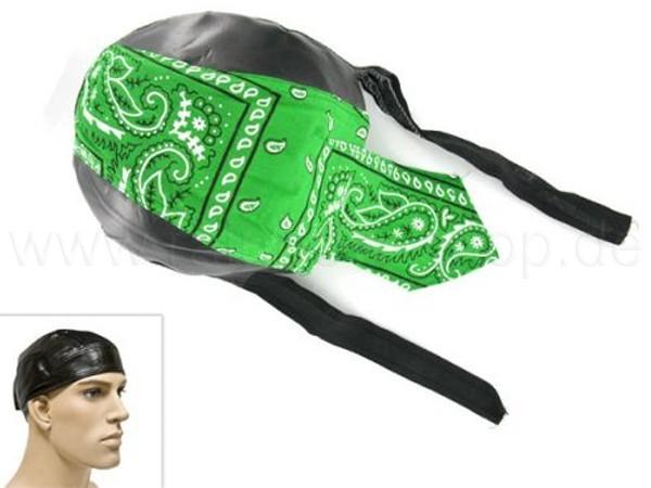 ZAL-088 Zandana, Leder Optik Biker Kopftuch Design: Paisley Muster Farbe: schwarz, grün, weiss