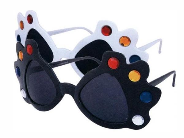 F-014 Fun Party Brille Form: Disco Farbe: schwarz mit Strass