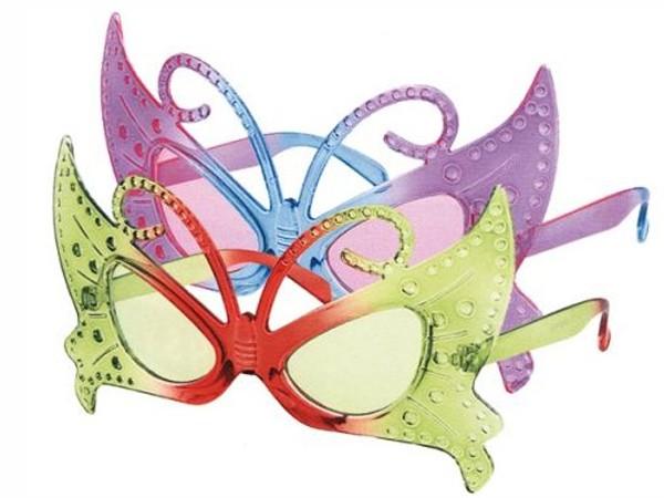 F-003 Fun Party Brille Form: Schmetterling Farbe: grün / rot