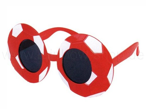F-013 Fun Party Brille Form: Fußball Farbe: rot / weiß