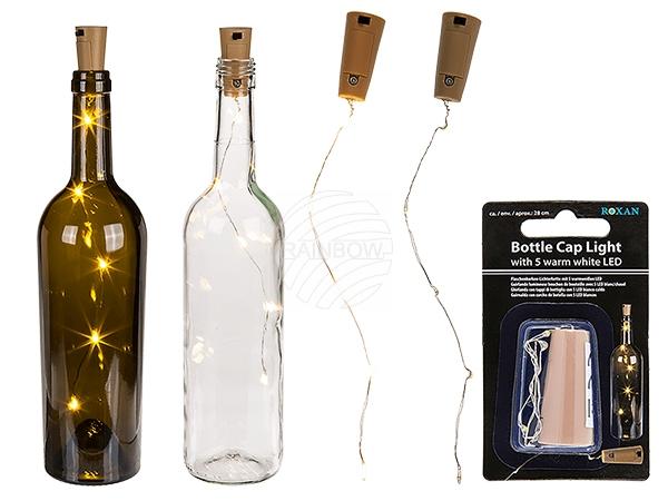 260077 Flaschenkorken-Lichterkette mit 5 warmweißen LED (inkl. Batterien) ca. 5 x 2 cm, L: ca. 48 cm, auf Blisterkarte