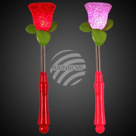 LSt-05 LED Leuchtstab rot Motiv: Rose auf Metallfeder