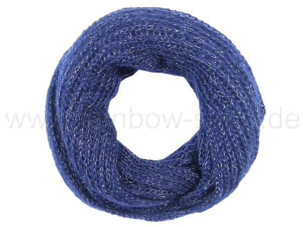 SCH-382b Damen Loop Schal Strickmuster blau