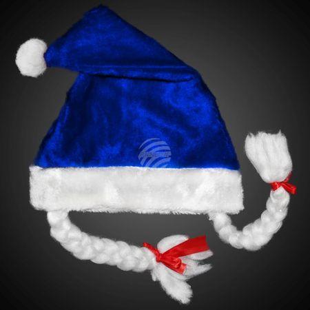 WM-09a Weihnachtsmütze blau Motiv:  Mit blinkenden Zöpfen