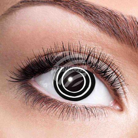 KL-w04 Weiche getönte Kontaktlinse Black Spiral schwarz weiß