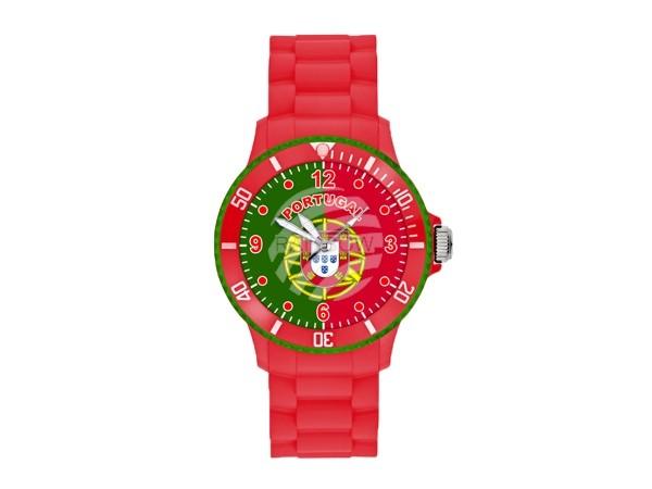 UR-POR Uhren Armbanduhren Länderuhren Portugal rot Ø ca. 4,4 cm