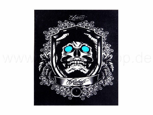 Shirt-02 EL Folie  schwarz Motiv:  Totenkopf Schriftzug Rebels