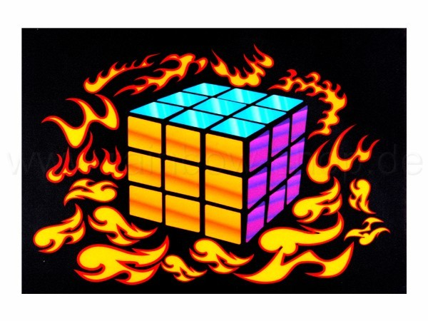 Shirt-09 EL Folie  schwarz Motiv:  Zauberwürfel in Flammen