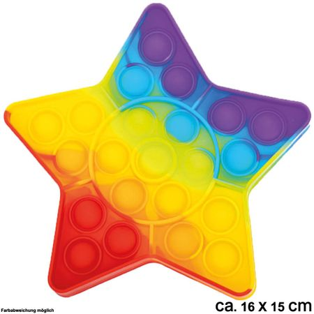 BUT-021 Bubble Toy Rainbow Stern ca. 16 cm x 15 cm